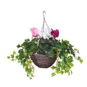 Artificial Silk Cyclamen Mix Small Hanging Basket