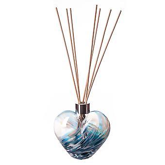 Herz geformt Reed Diffusor Petrol & weiß von Amelia Kunstglas