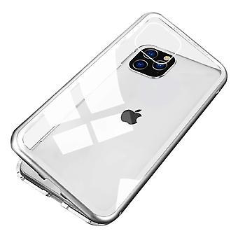 Stoff zertifiziert® iPhone 12 Mini magnetische 360 ° Fall mit gehärtetem Glas - Ganzkörper-Cover-Etui + Bildschirmschutz weiß