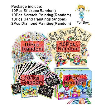 Children Drawing Scratch Sand Painting Diamond Stickers, Educational Learning