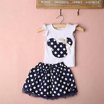 Summer Kids Baby Clothes Sets   Sleeveless T-shirt Tops Polka Dot Tutu Skirt