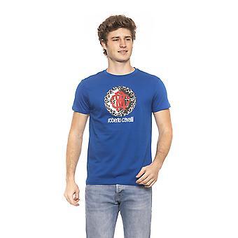 روبرتو كافالي بيتش ملابس الكساي الأزرق الشعار تي شيرت