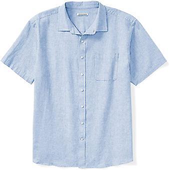 Essentials Herre's Big & Høy Kortermet Lin Bomull Skjorte Passform av DXL, -Lyseblå, 3XL