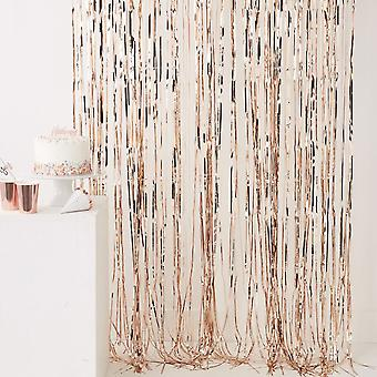 Rose Gold Shiny Fringe Curtain Wall Door Room Decoration Wedding Party