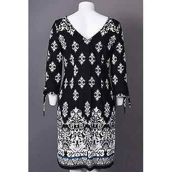 Neckline Half Sleeve Damask Print Jersey Dress