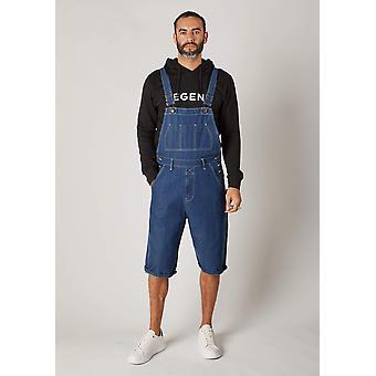 Chet mens dungaree shorts - stonewash