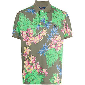 الأزهار الاستوائية طباعة شعار بولو قميص