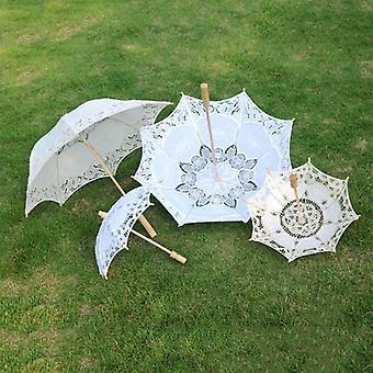 New Sun Umbrella Bridal  Parasol Sun Sunshade Embroidery Lace For Wedding