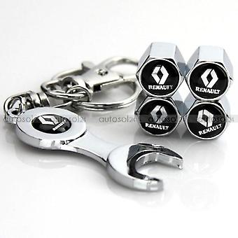 Set Of 4 Chrome Anti-Theft Car Tyre Air Dust Valve Stem Cap With Keyring Spanner For Renault