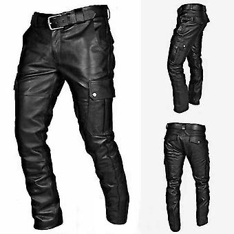 Men's Autumn Winter Punk Retro Goth Slim Casual  Long Pants Trousers