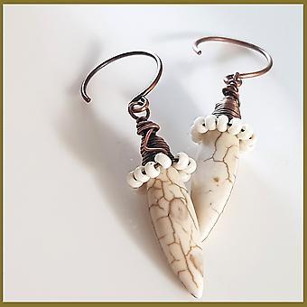 Copper Wire Wrapped Howlite Spike Earrings