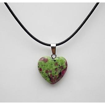 Natural Stone Heart Pendant, Quartz Crystal Agates, Turquoises Malachite