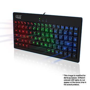 Adesso AKB-110EB SlimTouch - Μίνι πληκτρολόγιο με φωτεινά πλήκτρα RGB