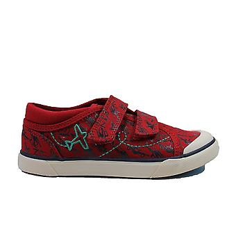 Startrite Red Aeroplane Canvas Childrens Rip Tape Shoes