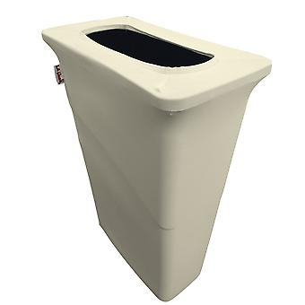 La Linen Stretch Spandex Trash Can Cover For Slim Jim 23-Gallon, Ivoire
