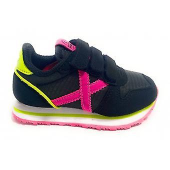 Shoes Baby Munich Sneaker With Strap Mini Massana Suede/ Black Fabric/ Yellow/ Fuchsia Z21mu01
