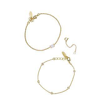 Opal & Crystal Dainty Bracelet Set With Extender Add On