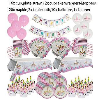 Unicorn Party Supplies Tableware Set Tablecloth Paper Cup Napkins Banner Cake