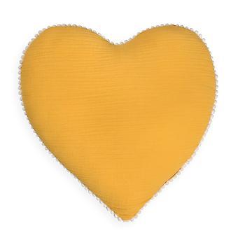 Mustard Heart Tetra Cotton Decorative Pillow