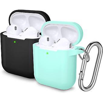 2ks ochranné pouzdra s karabinou pro Apple Airpods 2 & 1 (černá / mátová zelená)