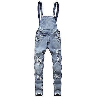 يانغفان الرجال & apos;ق سليم صالح بيب الزى الدنيم ممزق Jumpsuit بالأست مع جيب السراويل الجينز