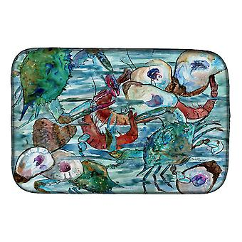 Caroline's Treasures Watery Shrimp, Crabs And Oysters Dish Drying Mat, 14 x 21, Multicolor