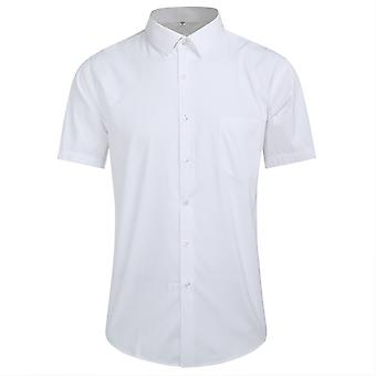 Yunyun Men's Pinstripe Lapel Solid Color Business Short-sleeved Shirt