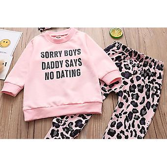 Baby Clothing Set, Dating Tops+leopard Print Pants