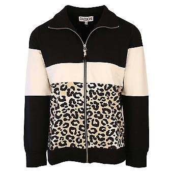 Passioni Black Leopard Print Long Sleeve Sports Look Zip Up Jacket