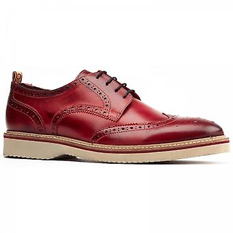 Base London Marcello Mens Leather Brogue Shoes Red