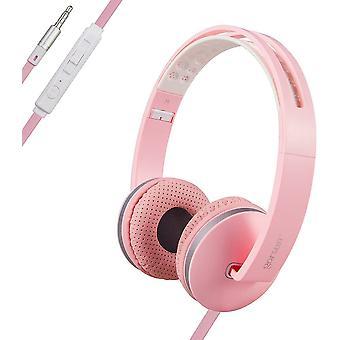 Zestaw słuchawkowy PC Lekkie składane regulowane zestawy słuchawkowe z mikrofonem i regulacją głośności 3,5 mm do słuchawek iPhone Laptop MP3 / 4-różowy