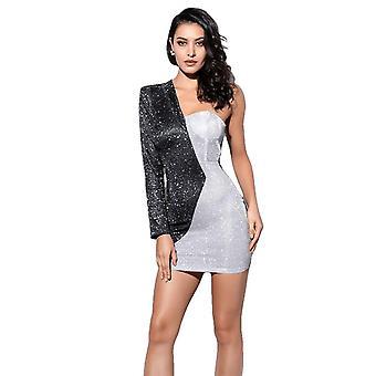 Negro caliente y plata irregular Bodycon mangas largas vestido de tela para las mujeres