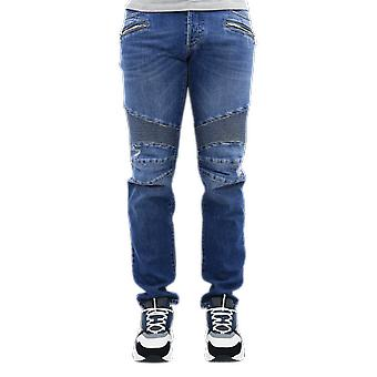 Balmain Ribbed Tapered Jeans-Vintage U Blue VH1MH005031D6AA Pants