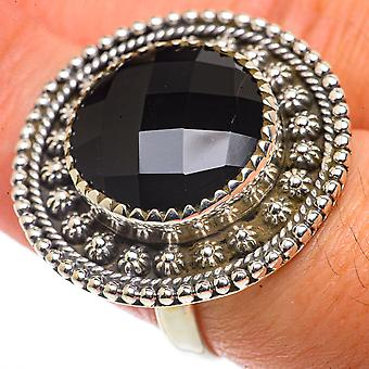 Large Black Onyx Ring Size 7.25 (925 Sterling Silver)  - Handmade Boho Vintage Jewelry RING66720