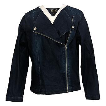DG2 by Diane Gilman Women's Collarless Stretch Moto Jacket Blue 743218