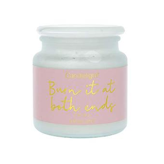 Large Frosted Wax Filled Jar 'Burn It At Both Ends' - Pink Petal Scent