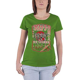 KISS T Shirt Destroyer Tour 78 Band Logo new Official Womens Skinny Fit Green