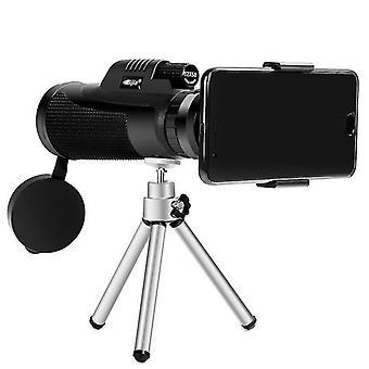 Telescopio monocular impermeable para acampar de 12x50 HD con zoom óptico de lente de observación de aves con trípode