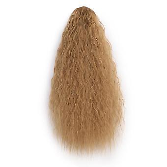 Negro largo cola de caballo rizado rizado sintético clip de las mujeres en la cola de caballo extensión de pelo de alta temperatura para las mujeres