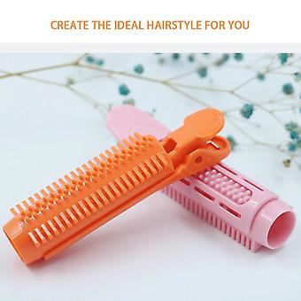 12pcs Hair Roller Clip Wave Hair Styling Root Folder Hairdressing Curler Lamp Hairdresser(Orange)