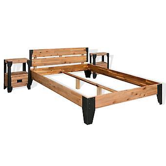 vidaXL Bettrahmen 2 Nachttische Akazienholz Massiv Stahl 140x200 cm