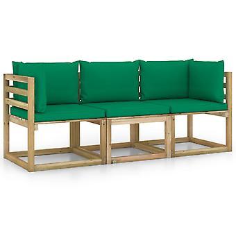 vidaXL 3-personers havesofa med grøn pude