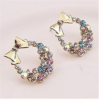 Colored Crystal Bow Earrings