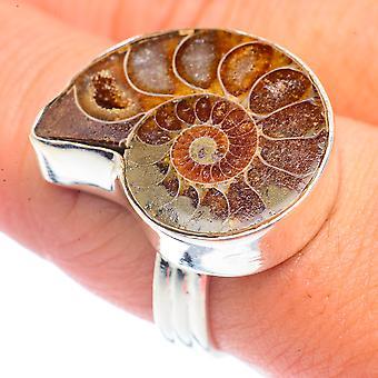 Ammoniitti fossiilinen rengas koko 8,75 (925 Sterling Hopea) - Käsintehty Boho Vintage Korut RING71547