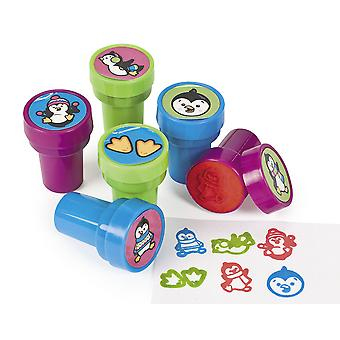 LAST FEW - 24 Cute Penguins Self Inking Stampers for Kids Crafts & Party Bags