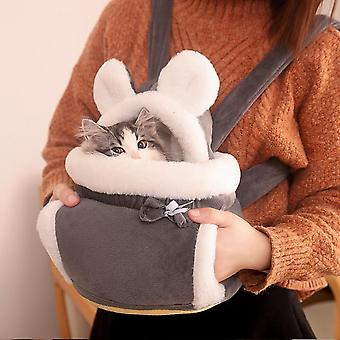 Warm Pet Carrier Bag Small Cat Dogs Backpack Winter Plush Pets Cage For Outdoor Travel Pet Hanging Chest Bags 6kg Load-bearing