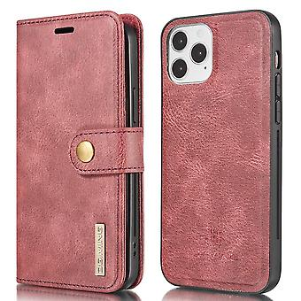 DG.MING iPhone 13 Pro Split Läder Plånboksfodral - Röd