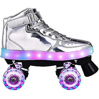 Flash Skate Doppelreihe Pulley Schuhe - 4-Rad Pu Luminous Rollschuhe & Damen