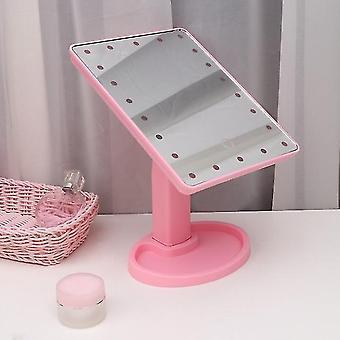 16 Led desktop specchio cosmetico usb touch screen dimmerabile specchio per il trucco con vassoio portaoggetti) (rosa 1)