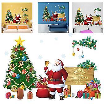 Wesołych Świąt Naklejki ścienne Santa Claus Gift Window Wall Naklejki Xmas Decor